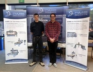 Kenton French (L) and Austin Light (R) at the Pikes Peak Student Manufacturing Awareness & Career Expo representing Diversified Machine Systems (DMS)