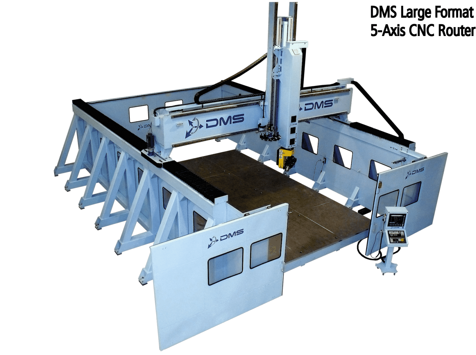 DMS 5 Axis Enclosed Overhead Gantry Side Wall CNC Router with text 1 5 axis large format overhead gantry cnc machine diversified cnc router diagram at gsmx.co