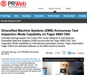 Diversified Machine Systems (DMS) Announces Tool Inspection Mode Capability on Fagor 8065 CNC