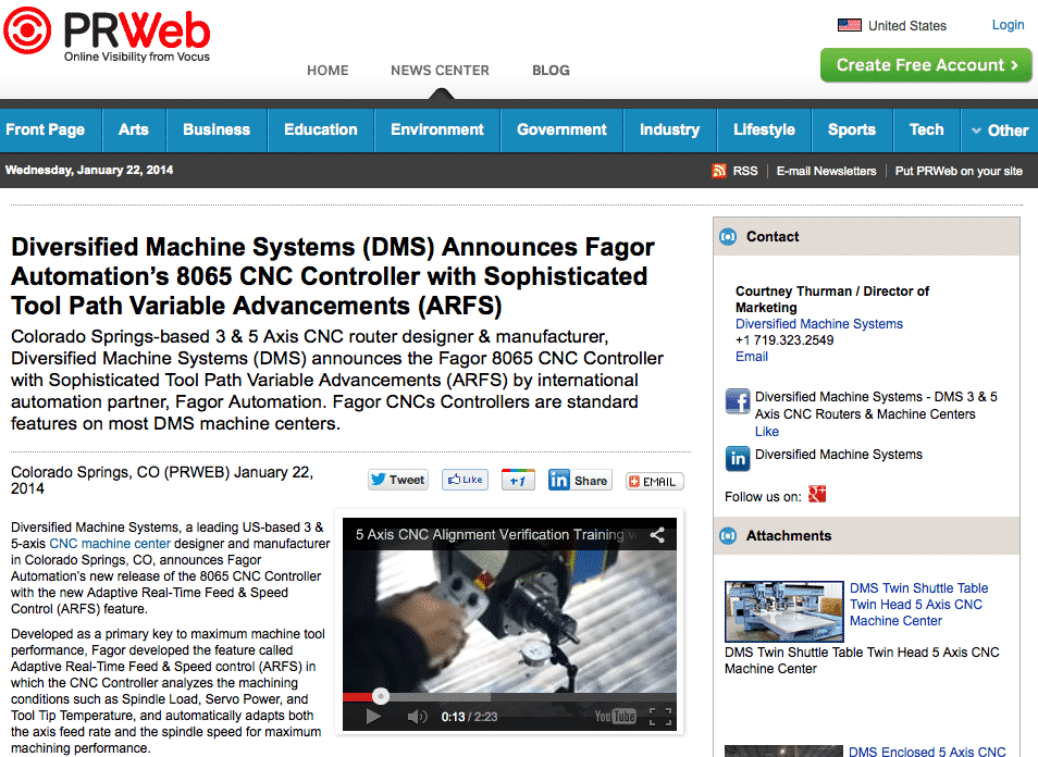 Diversified Machine Systems announces Fagor 8065 CNC Controller Tool Path Variable Advancements