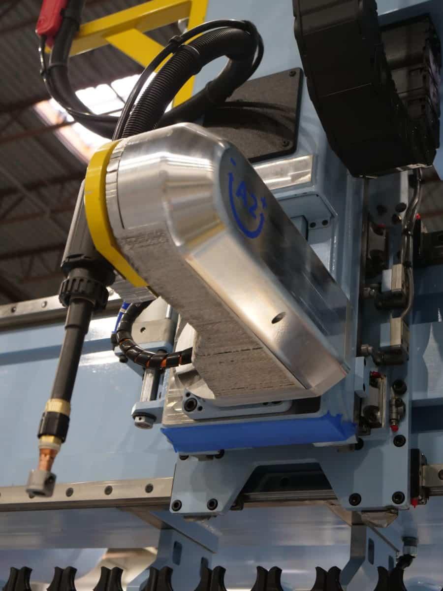 3d printed aluminum yoke installed on machine